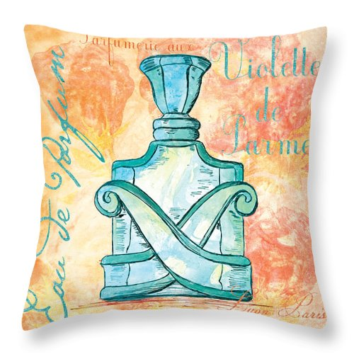 Perfume Throw Pillow featuring the painting Eau De Parfum by Debbie DeWitt