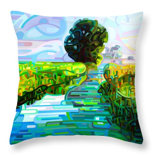 Abstract Throw Pillow featuring the painting Ebb And Flow by Mandy Budan