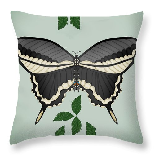 Butterfly Throw Pillow featuring the painting Ebony And Ivory by Anne Norskog