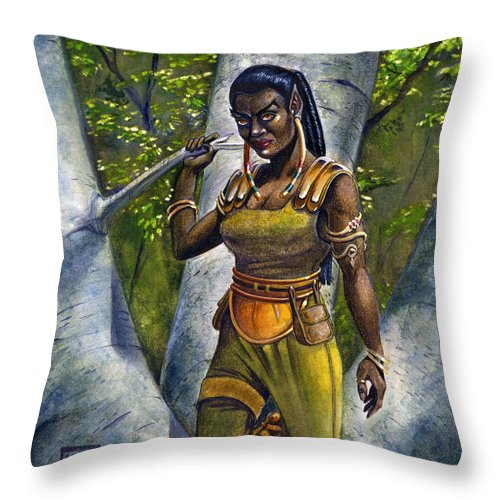 Elf Throw Pillow featuring the painting Ebony Elf by Melissa A Benson