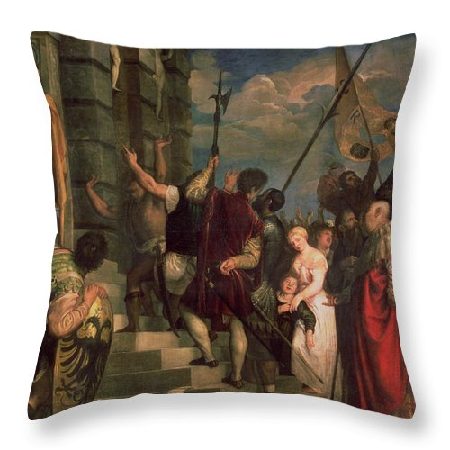Titian Throw Pillow featuring the painting Ecce Homo, 1543 by Titian