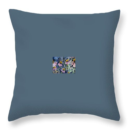 Echinacea Throw Pillow featuring the painting Echinacea Cone Flower Art by Derek Mccrea