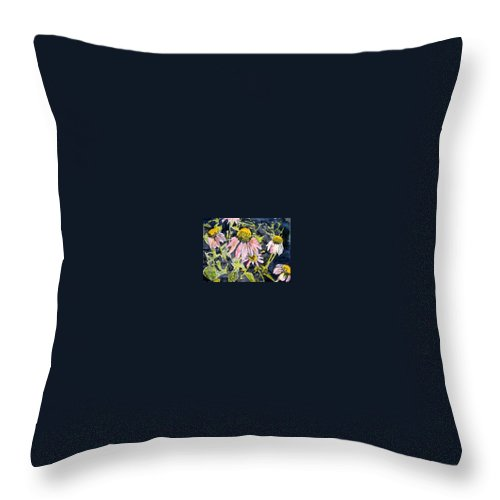 Echinacea Throw Pillow featuring the painting Echinacea Coneflower 2 by Derek Mccrea