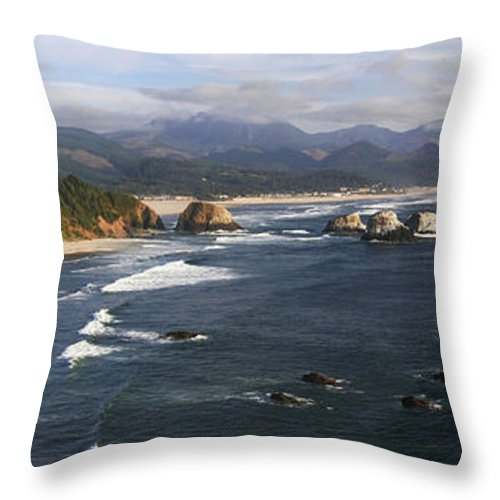 Ocean Throw Pillow featuring the photograph Ecola Vista by Winston Rockwell