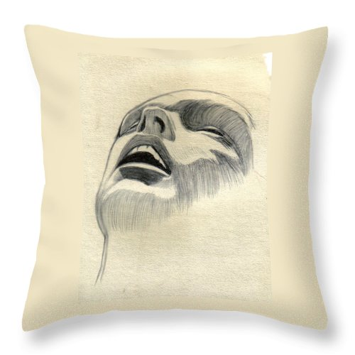 Drawing Throw Pillow featuring the drawing Meditating by Marco Morales
