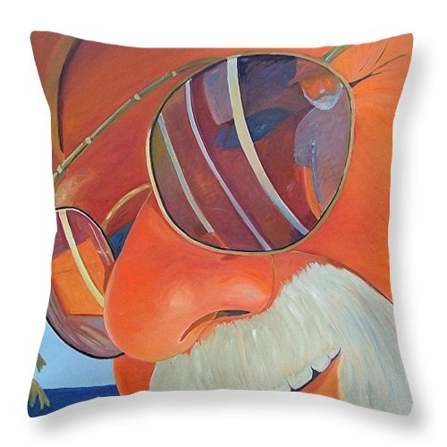 Face Throw Pillow featuring the painting Ed And Gary At The Sea by Gary Coleman