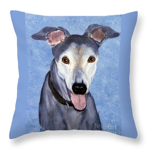 Dog Throw Pillow featuring the painting Eddie - Greyhound by Terri Mills