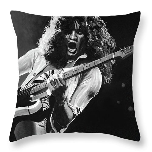 Van Halen Throw Pillow featuring the painting Eddie Van Halen - Black And White by Tom Carlton