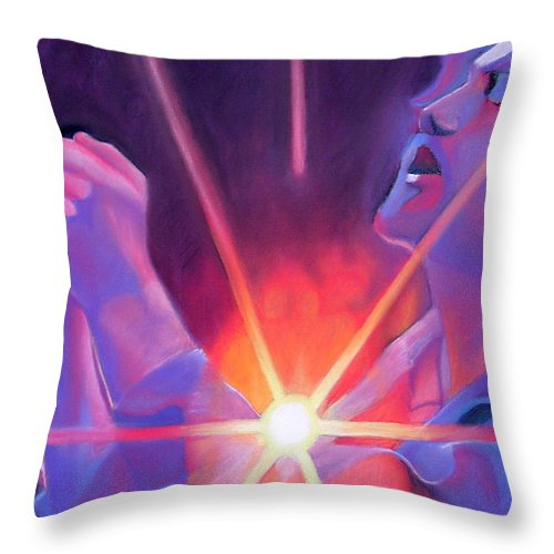 Eddie Vedder Throw Pillow featuring the drawing Eddie Vedder And Lights by Joshua Morton