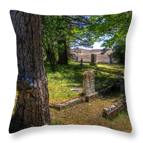 Palouse Throw Pillow featuring the photograph Eden Valley Cemetery by Lee Santa