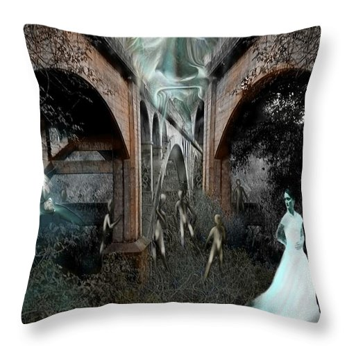 Eden Surreal Creatures Bridges Dreaming Throw Pillow featuring the digital art Eden by Veronica Jackson