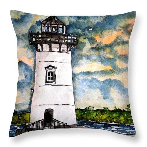 Lighthouse Throw Pillow featuring the painting Edgartown Lighthouse Martha's Vineyard Mass by Derek Mccrea