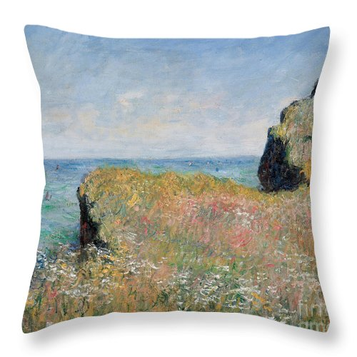 Monet Throw Pillow featuring the painting Edge Of The Cliff Pourville by Claude Monet