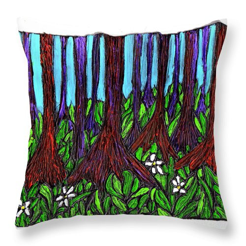 Trees Throw Pillow featuring the painting Edge Of The Swamp by Wayne Potrafka