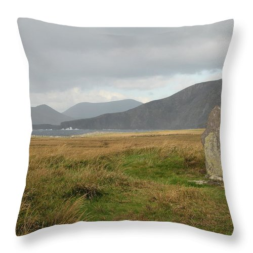 Medievil Throw Pillow featuring the photograph Edge Of The World by Kelly Mezzapelle