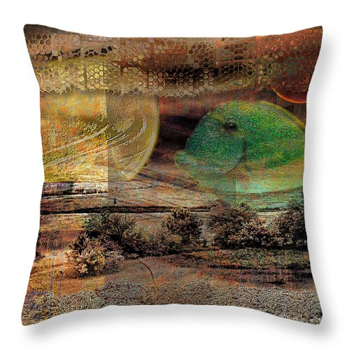 World Throw Pillow featuring the digital art Edge Of The World by Mimulux patricia No