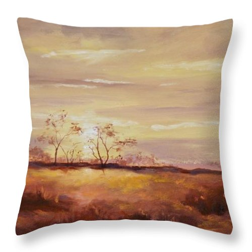 Desert Landscapes Throw Pillow featuring the painting Edge Of Tucson by Ginger Concepcion