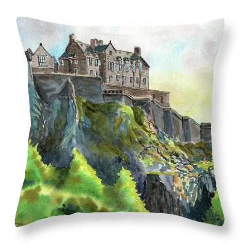 Timithy Throw Pillow featuring the painting Edinburgh Castle From Princes Street by Timithy L Gordon