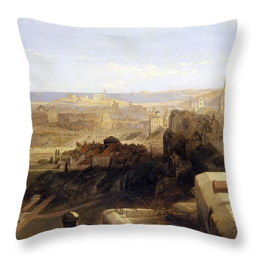 David Roberts Throw Pillow featuring the painting Edinburgh From The Castle by David Roberts