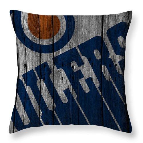 Oilers Throw Pillow featuring the digital art Edmonton Oilers Wood Fence by Joe Hamilton