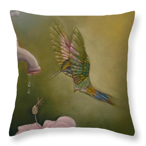 Humming Bird Throw Pillow featuring the painting Eenny Meenie Miney Moe by Ceci Watson