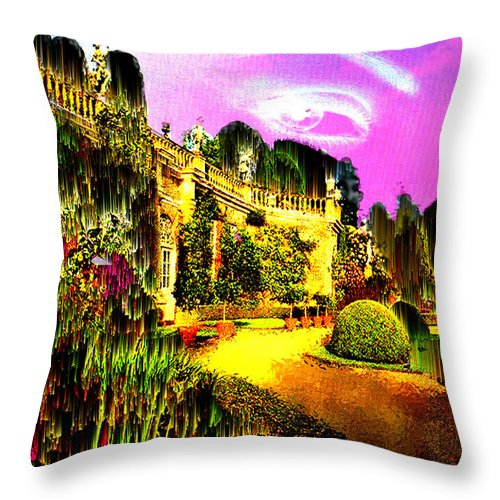 Mansion Throw Pillow featuring the digital art Eerie Estate by Seth Weaver