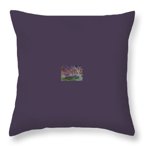 Watercolor Throw Pillow featuring the painting Eerie Gothic Landscape Fine Art Surreal Print by Derek Mccrea