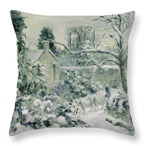Effect Throw Pillow featuring the painting Effect Of Snow With Cows At Montfoucault by Camille Pissarro