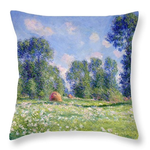 Effect Of Spring Throw Pillow featuring the painting Effect of Spring at Giverny by Claude Monet