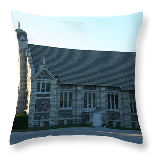 Church Throw Pillow featuring the photograph Egg Harbor Church by Tommy Anderson