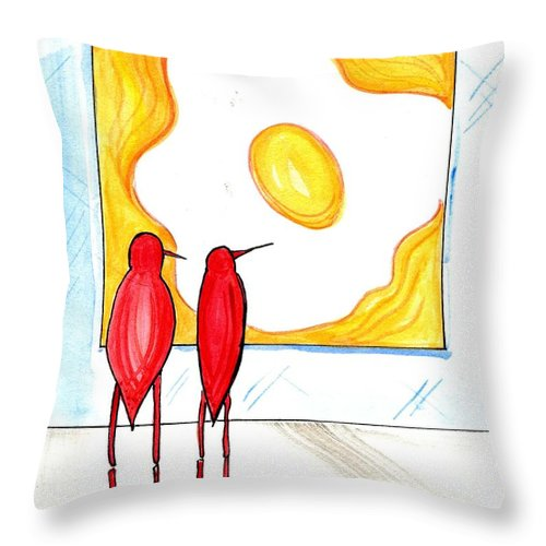 Egg Throw Pillow featuring the drawing Egg by Lizi Beard-Ward