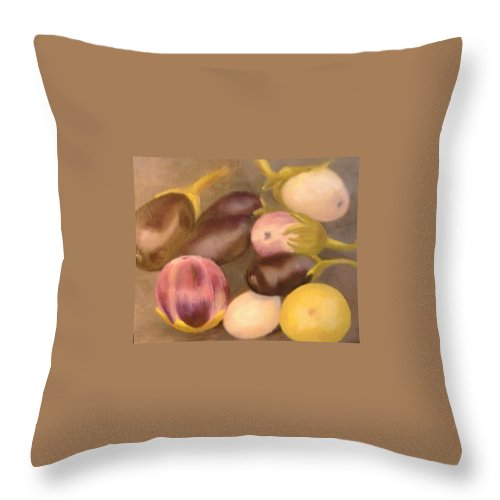 Vegestables Throw Pillow featuring the painting Eggplant by Pat Snook