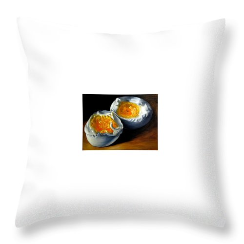 Eggs Throw Pillow featuring the painting Eggs Contemporary Oil Painting On Canvas by Natalja Picugina