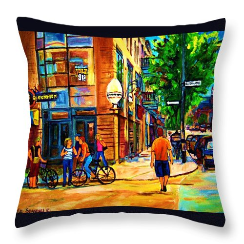 Eggspectation Cafe On Esplanade Throw Pillow featuring the painting Eggspectation Cafe On Esplanade by Carole Spandau