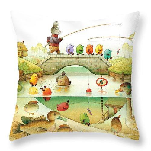Eggs Easter Rabbit Throw Pillow featuring the painting Eggstown by Kestutis Kasparavicius