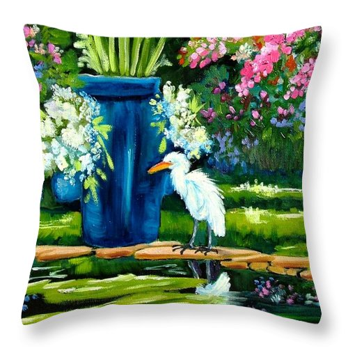 Florida Edison Estate Egret Tropical Pool Water Flowers Vase Lily Pads Animals Vases Blue Prints Birds Wading Birds Egrets Flowers Pink Blue Lavendar Water Pool Throw Pillow featuring the painting Egret Visits Goldfish Pond by Carol Allen Anfinsen