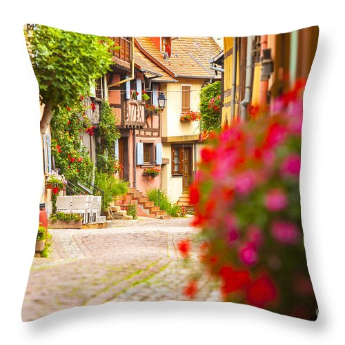 Alsace Throw Pillow featuring the photograph Half-timbered House, Eguisheim, Alsace, France by Marco Arduino