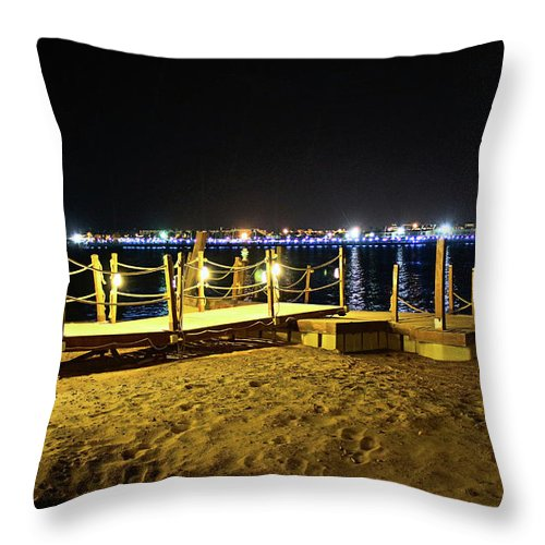 Beach Throw Pillow featuring the photograph Egypt At Night by Dave Lees
