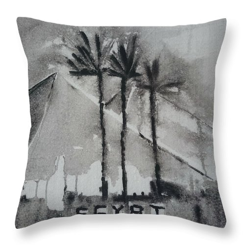 Egypt Throw Pillow featuring the painting Egypt by Springtime Seventy Eight