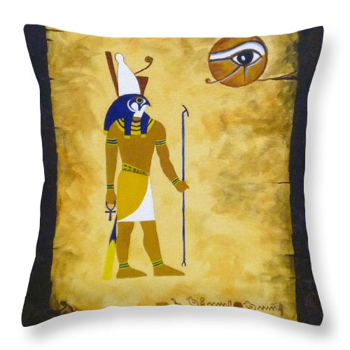 Egyptian Image Throw Pillow featuring the painting Egyptian God Horus by Craig Johnstone