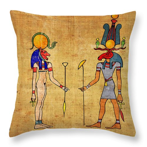 Egypt Throw Pillow featuring the digital art Egyptian Gods And Goddness by Michal Boubin