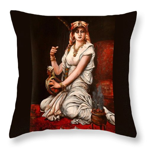 Portrait Of Women Throw Pillow featuring the painting Egyptian Lady With Harp by Patricia Rachidi