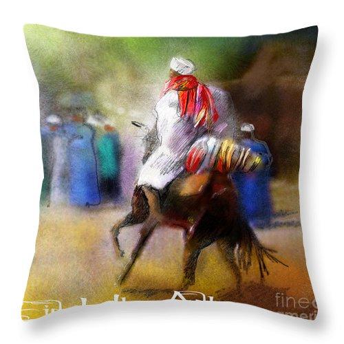 Eid Ul Adha Sheep Painting Festival Of Sacrifice Horses Knight Throw Pillow featuring the painting Eid Ul Adha Festivities by Miki De Goodaboom