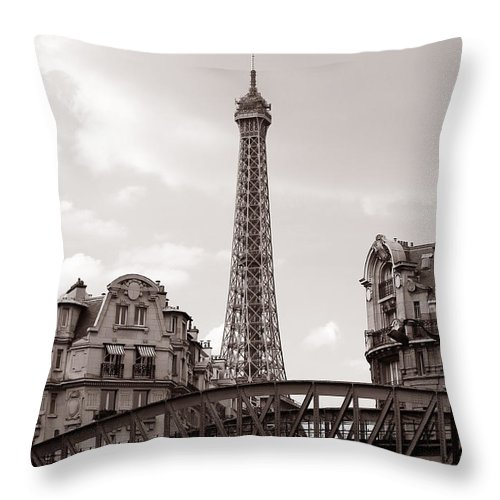 Eiffel Throw Pillow featuring the photograph Eiffel Tower Black And White 3 by Andrew Fare
