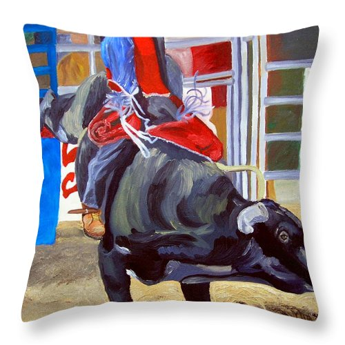 Bull Riding Throw Pillow featuring the painting Eight Long Seconds by Michael Lee