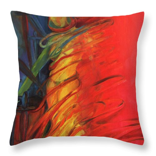 Oil Painting Throw Pillow featuring the painting Eight Of Swords by Daun Soden-Greene