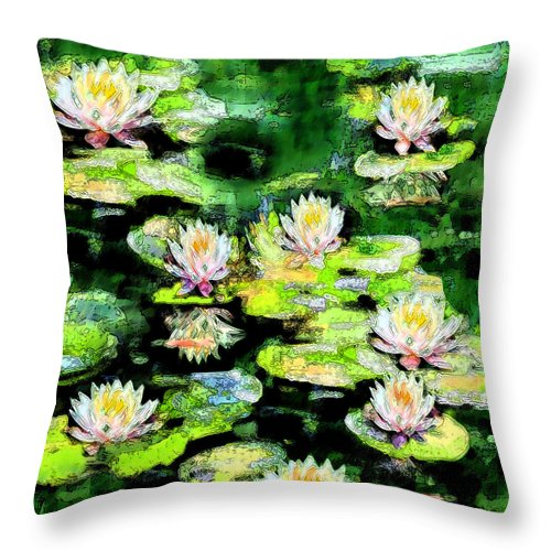 Waterlilies Throw Pillow featuring the painting Eight #waterlilies by Michele Avanti