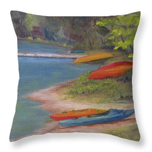 Eighth Lake Throw Pillow featuring the painting Eighth Lake Canoes by Karen Pankow