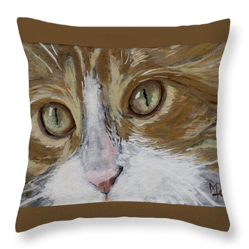 Charity Throw Pillow featuring the painting Einstein by Mary-Lee Sanders