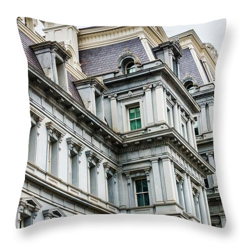 Eob Throw Pillow featuring the photograph Eisenhower Building by SR Green